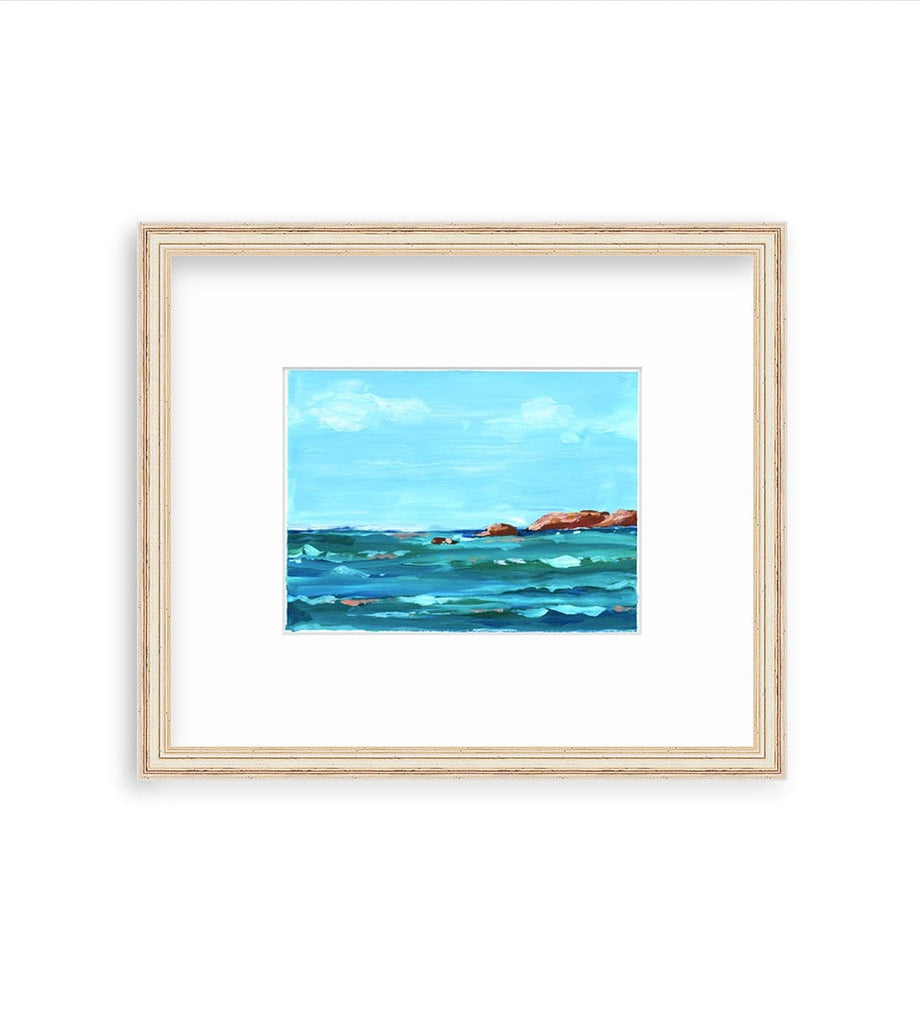 6x8 inch acrylic seascape painting on paper captures the daytime sky and sea views at Punta Mita in Mexico. The sky is bright blue withe a couple of clouds wisping across the sky, and the sea is deep aqua, turquoise and blue, with coral highlights on the water. A few rocky outcroppings dot the ocean. It is matted in an off white and distressed gold frame by framebridge.