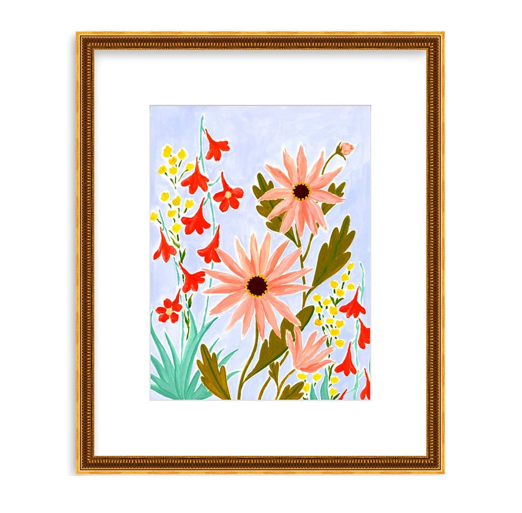 A wild tangle of coral pink daisy like flowers with olive leaves are mixed in with tall yellow blooms and fiery red larkspur with aqua leaves. They climb up the lavender background of this cheerful 9x12 painting on paper framed in a fluted gold frame