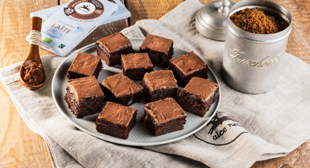 Rum brownies with milk chocolate and coffee whipped ganache