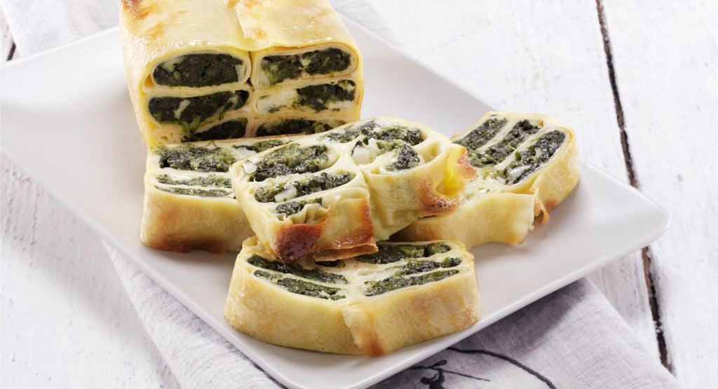 Terrine of crêpes with tofu and spinach
