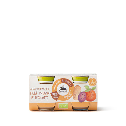 Organic apple, plum and biscuit purée baby food - 2 jars - BF160MR