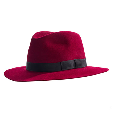 burgundy crushable fedora hat
