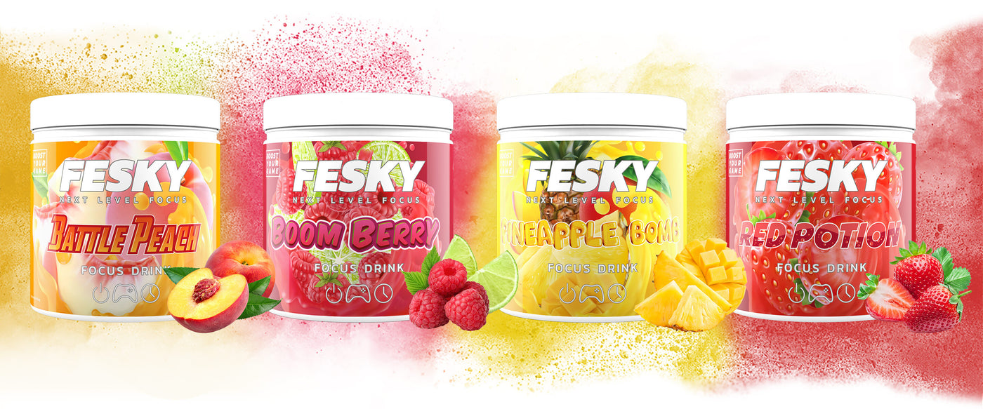 Fesky Battle Peach, Boom Berry, Pineapple Bomb, Red Potion