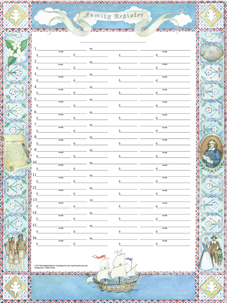 Mayflower Family Register Chart