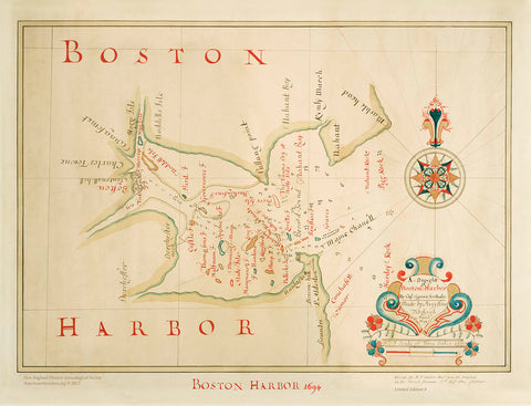 Map of Boston Harbor Print