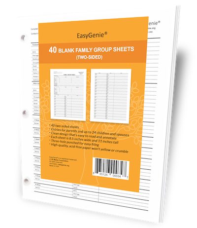 EasyGenie Blank Family Group Sheets (Two-Sided), 40 in package