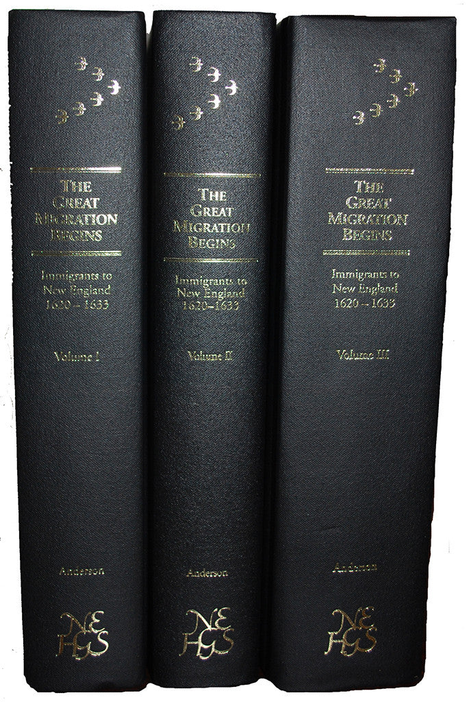The Great Migration Begins  Immigrants to New England 1620-1633 (3 Volume Set)