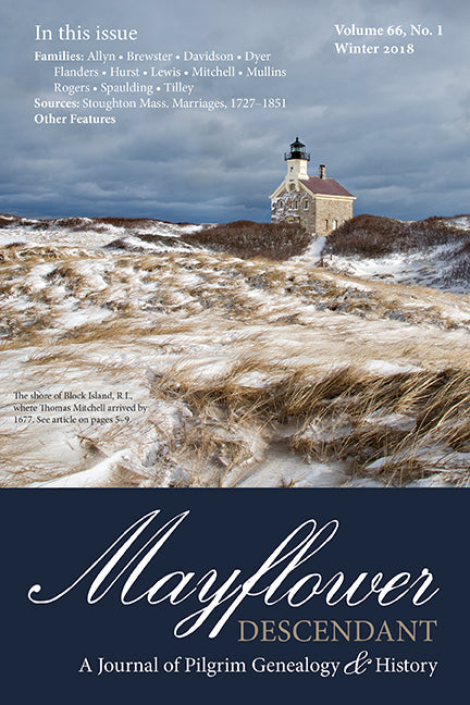 Mayflower Descendant, Volume 66, No. 1: Winter 2018