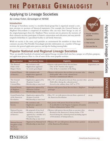 Portable Genealogist: Applying to Lineage Societies