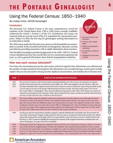 Portable Genealogist: Using the Federal Census: 1850-1940