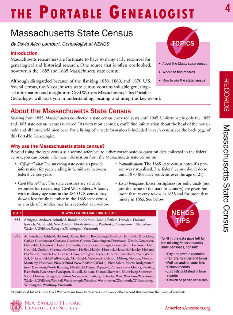 Portable Genealogist: Massachusetts State Census