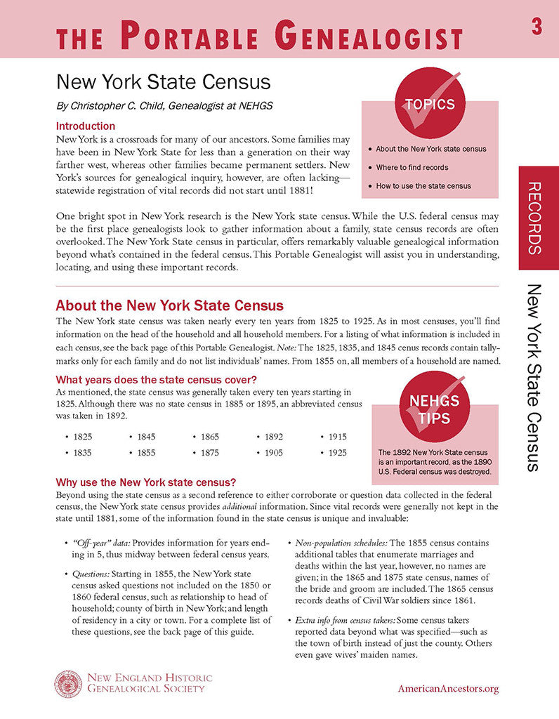 Portable Genealogist: New York State Census