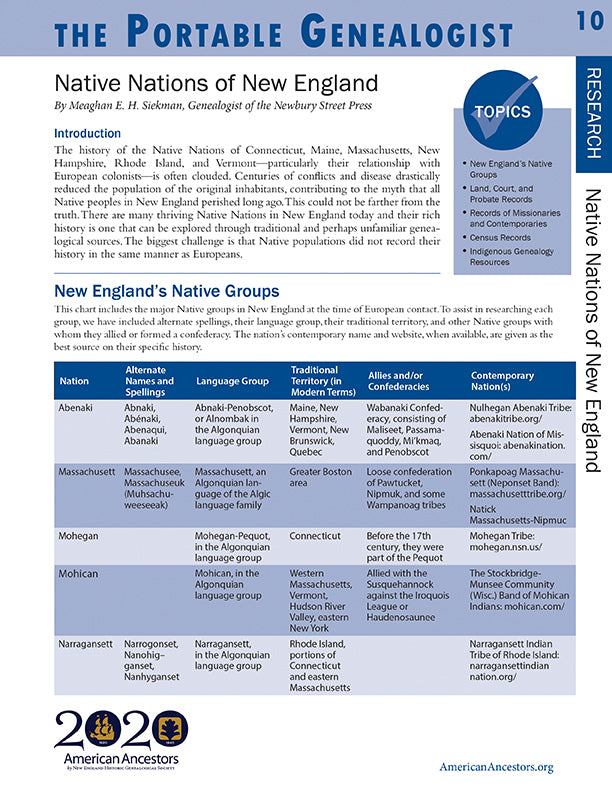 Portable Genealogist: Native Nations of New England