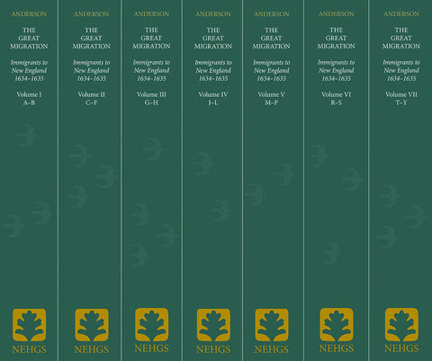 The Great Migration: Immigrants to New England, 1634–1635, Volumes I–VII, seven volumes (paperback)