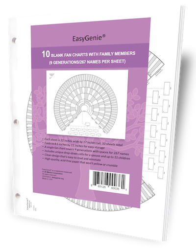 EasyGenie Blank Fan Charts with Family Members (9 generations/267 names per sheet), 10 sheets per package