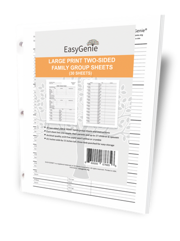 EasyGenie Large Print Two-Sided Family Group Sheets (30 sheets)