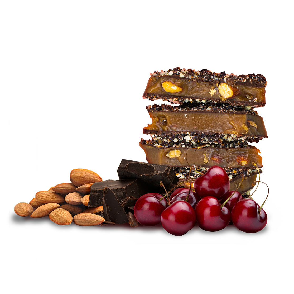 Two Brothers Toffee:  Cherry Toffee front view with dark chocolate, almonds, and cherries.