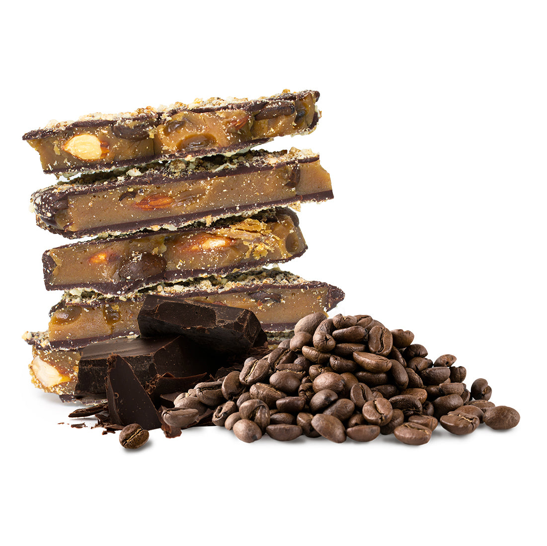 Two Brothers Toffee:  Espresso Toffee front view with dark chocolate and coffee beans.