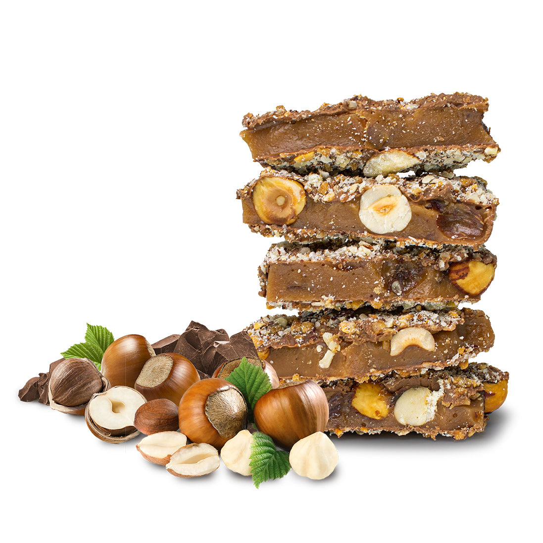 Two Brothers Toffee:  Hazelnut Toffee front view with chocolate and hazelnuts.