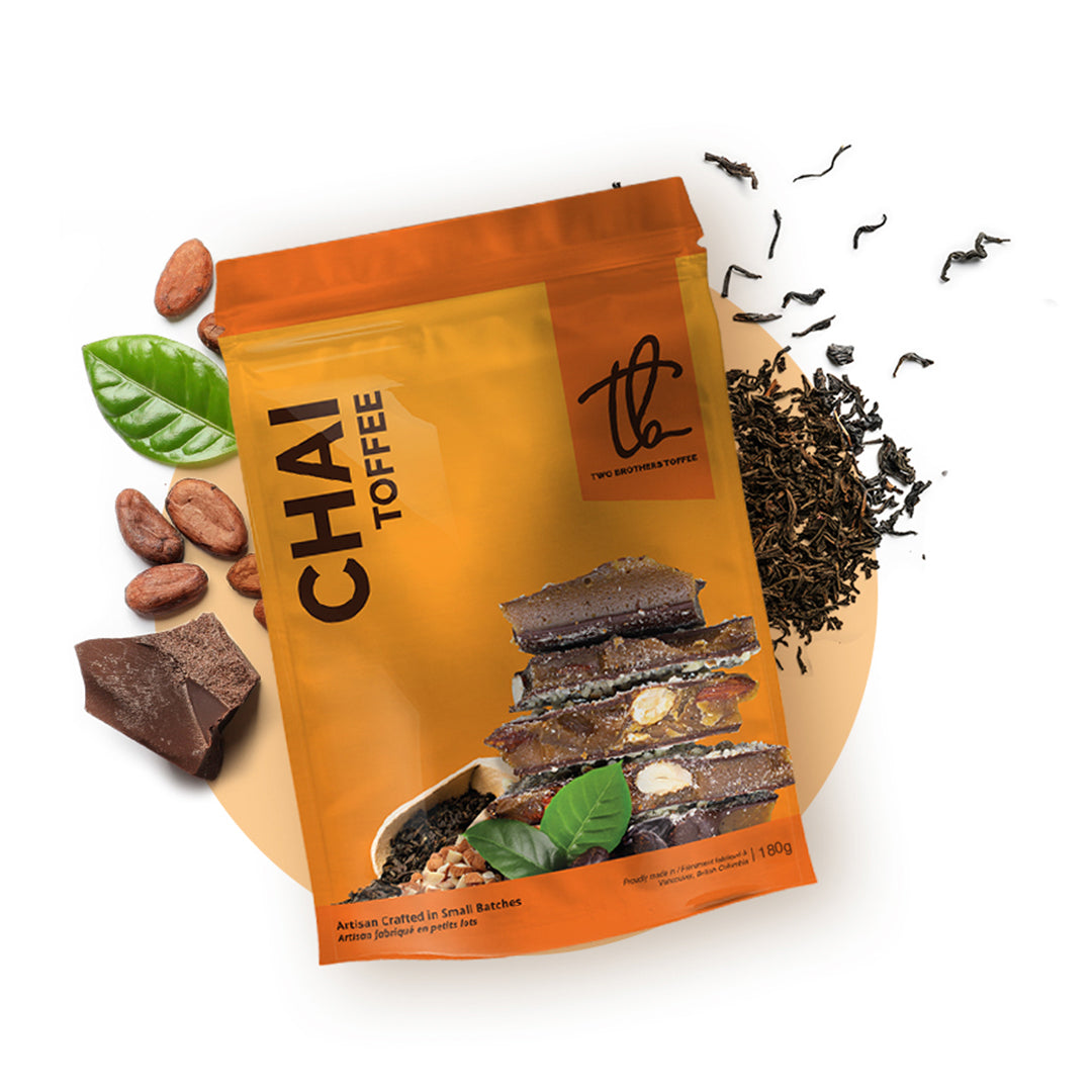 Premium Sweets - Chai Toffee in its orange packaging.