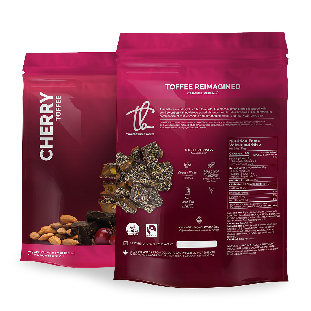 Two Brothers Toffee:  Cherry Toffee in its dark pink packaging with nutritional information.