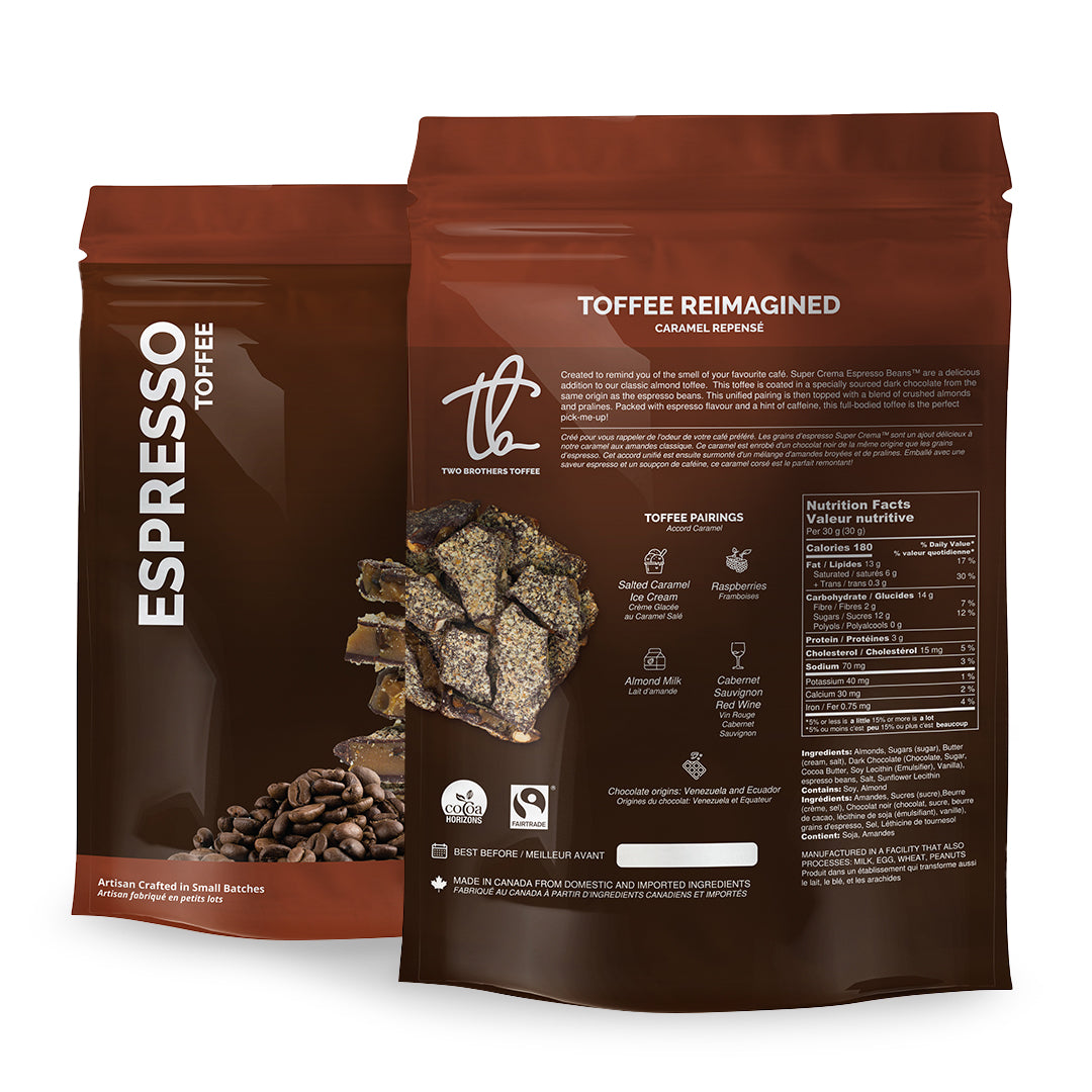 Two Brothers Toffee:  Espresso Toffee in its brown packaging with nutritional information.