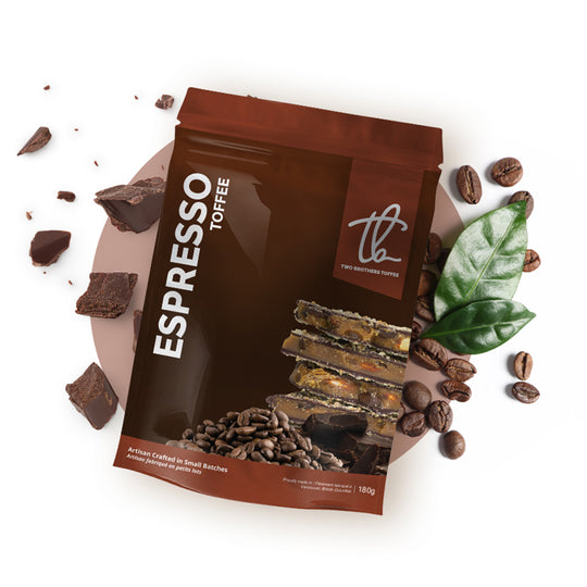 Two Brothers Toffee:  Espresso Toffee in its brown packaging.