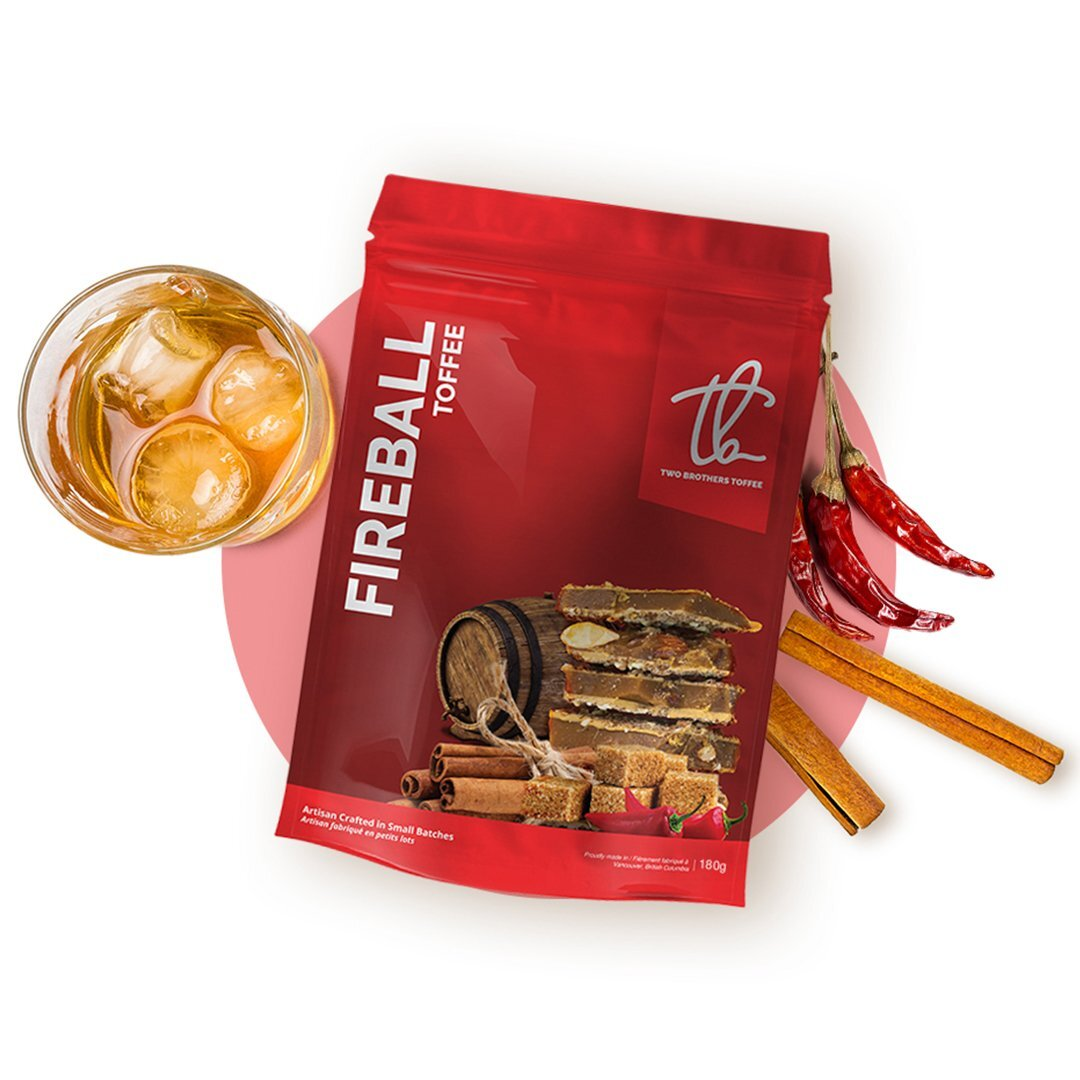 Two Brothers Toffee:  Fireball Toffee in its bright red packaging.