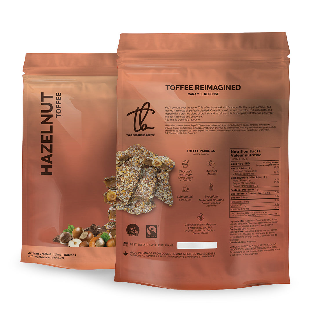 Two Brothers Toffee:  Hazelnut Toffee in its copper coloured packaging with nutritional information.