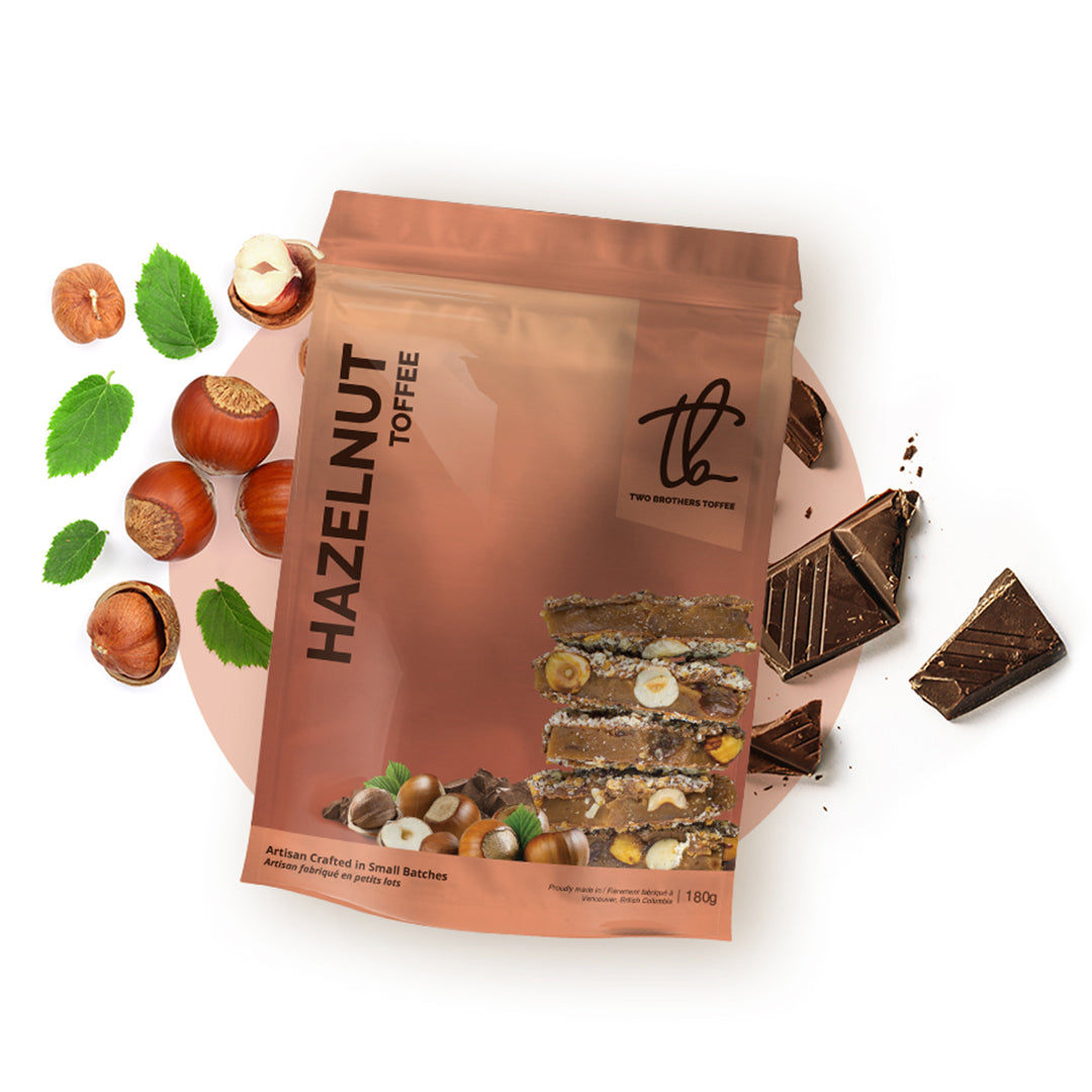 Two Brothers Toffee:  Hazelnut Toffee in its copper coloured packaging.