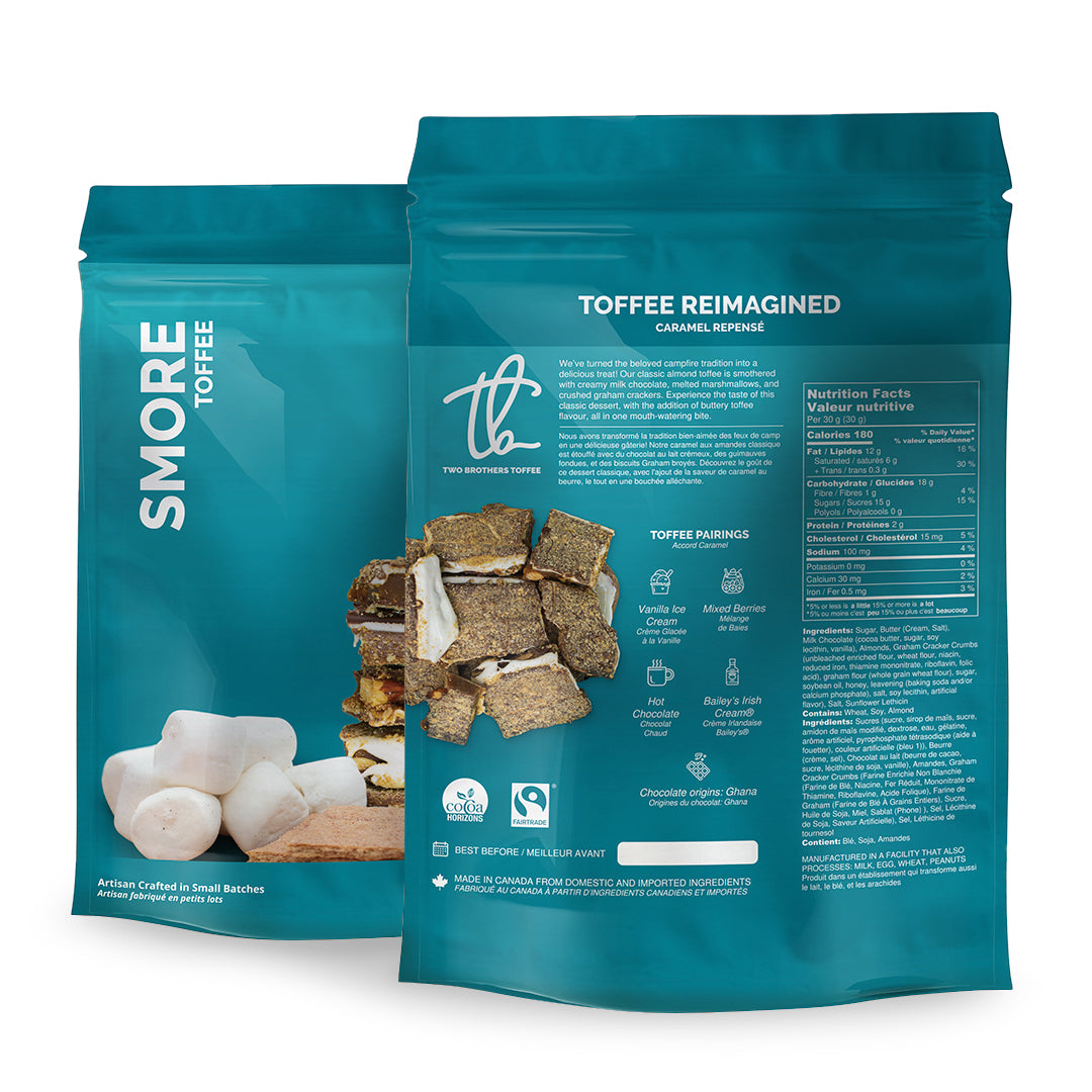 Two Brothers Toffee:  Smore Toffee in its blue packaging with nutritional information.
