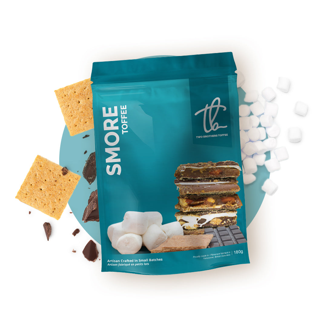 Two Brothers Toffee:  Smore Toffee in its blue packaging.
