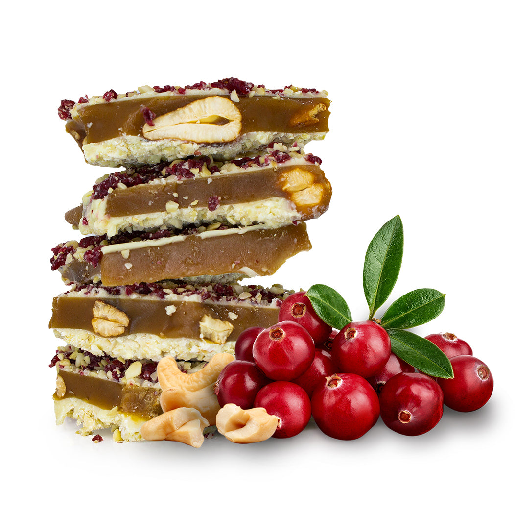 Two Brothers Toffee:  Whitecran Toffee front view with cranberries and cashews.