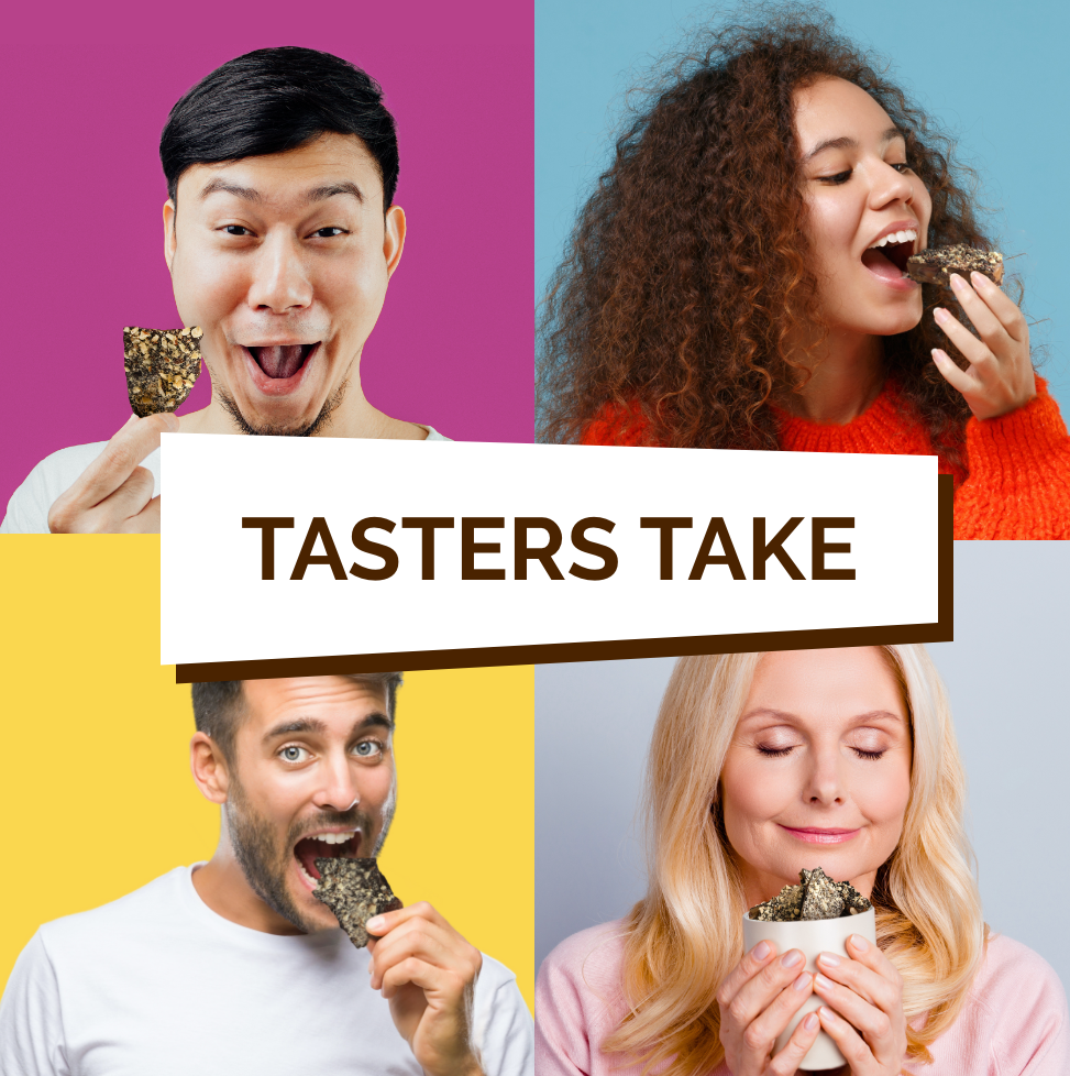 Four people tasting different toffee flavours.