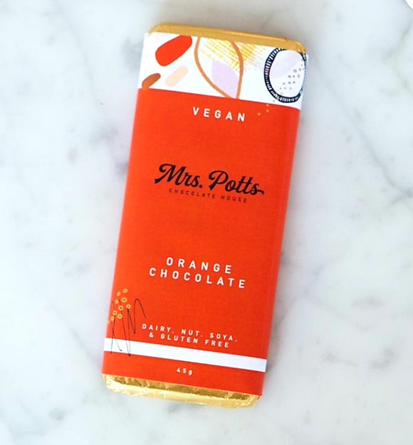 Mrs Potts Vegan. Orange Milk Chocolate Bar