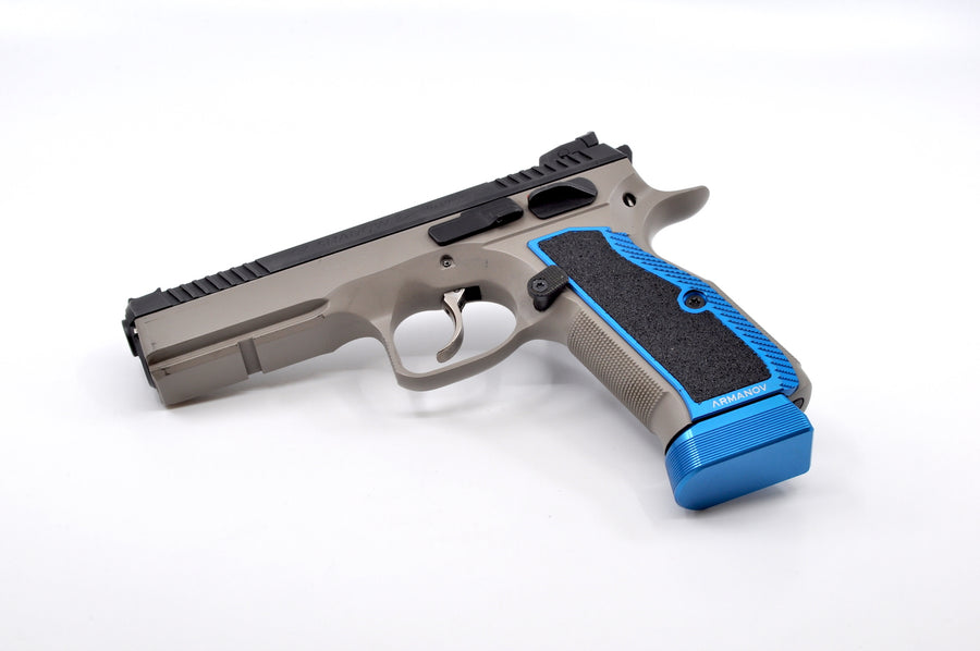 CZ 75 pistol with an Armanov base pad