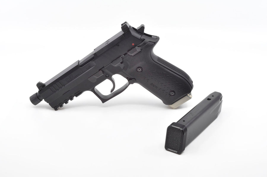 Rex Alpha pistol with Armanov magazine base pad
