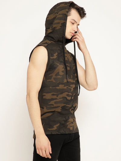 Punk Camouflage COGNOMEN Sleeveless Hooded Sweatshirt