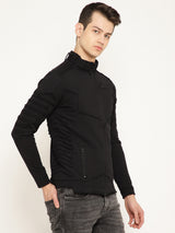 Punk PSY-CUT-&-SEW Black Long Sleeves Mandarin Collar Sweatshirt