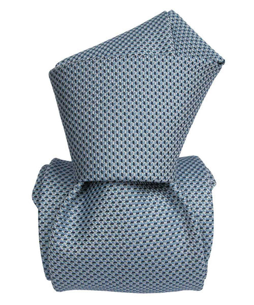 Arctic Ocean Blue Luxury Jacquard Italian Necktie for Men - 100% Silk - Knot