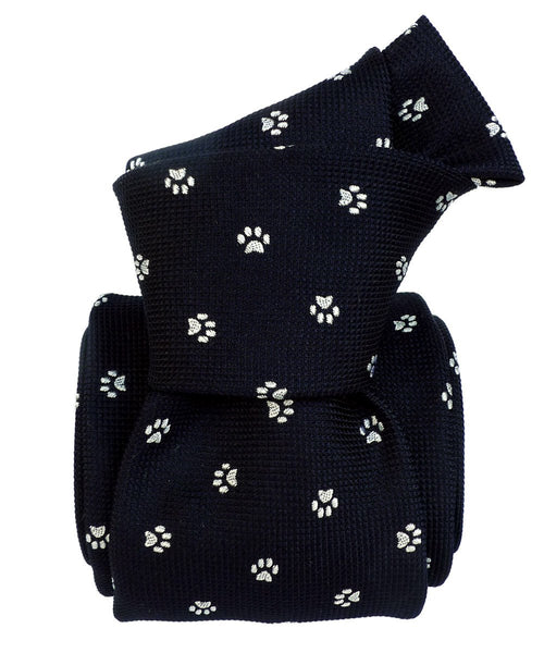 Black Italian Necktie with Paw print - 100% silk - Knot