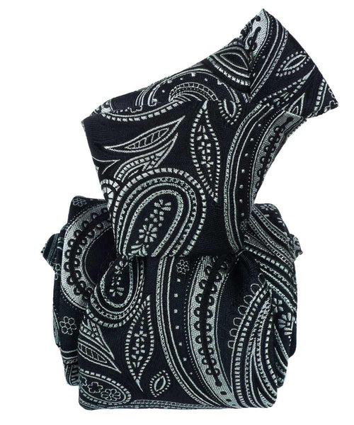 Black Paisley Tie - 100% Silk Jacquard - Italian Necktie for men knot