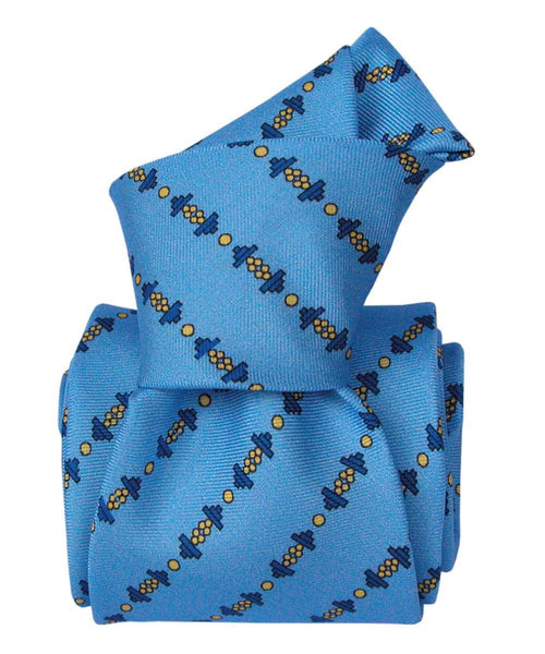 Blue Necktie with Dumbbells Print - 100% Silk - Knot
