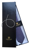 Blue Printed Italian Necktie for Men - 100% Silk - Gift box