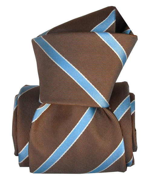 Brown and Blue Stripes Jacquard Italian Necktie for Men - 100% Silk - Knot
