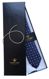 Dark Blue with Flowers Jacquard Italian Necktie for Men - 100% Silk - Gift box