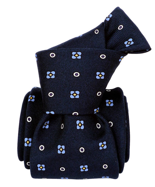 Dark Blue with Flowers Jacquard Italian Necktie for Men - 100% Silk - Knot