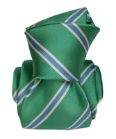 Green Satin Luxury Jacquard Italian Necktie for Men - 100% - Knot