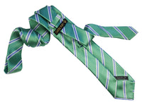 Green Satin Luxury Jacquard Italian Necktie for Men - 100% - Fabric expose