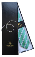 Green Satin Luxury Jacquard Italian Necktie for Men - 100% - gift box